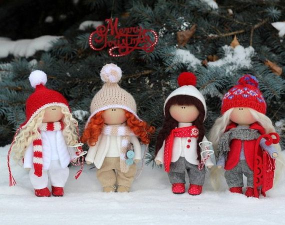 Christmas doll READY Winter doll Fabric doll Baby doll Tilda doll Red doll Soft doll Cloth doll Textile doll Rag doll Interior doll by Olga