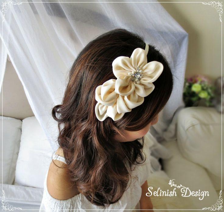 Bridal Headband Ivory Wedding Hair Flower by SelinishDesign, $33.85
