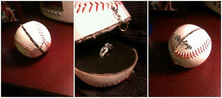 DIY baseball engagement ring box. Awhh i dont even like baseball haha