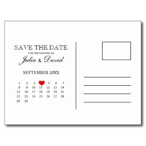 Calendar Save The Date Postcard Template. Cute idea for back of postcard.
