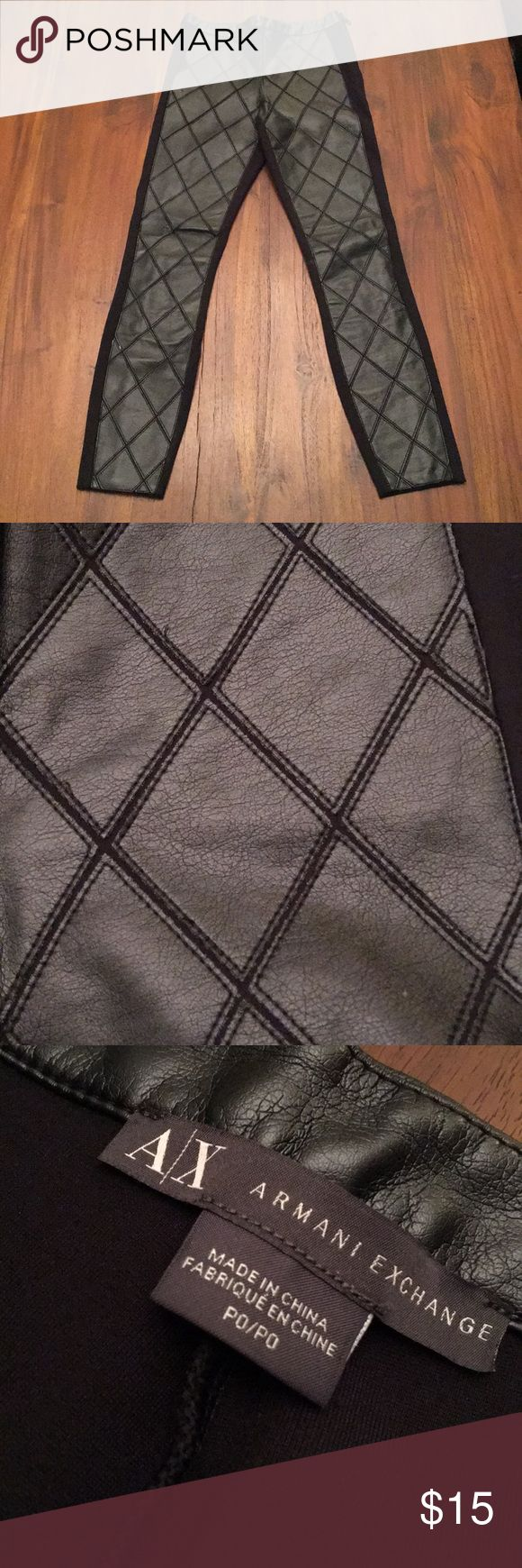 Armani Exchange leggings Armani Exchange faux leather and pointe leggings. GUC. No holes, tears, rips. Petite size. P0. Zips up side waist. A/X Armani Exchange Pants Leggings