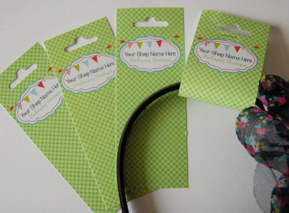 48 headband display hanging cards  525 x 2 by YourShopNameHere, $23.00