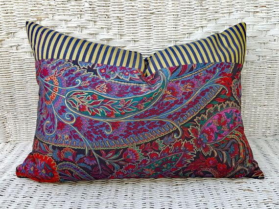 Modern Bohemian Pillows, Boho Pillow Covers, Eclectic Throw Pillows, Unique Pillow Covers,  Purple Gold Red Blue Lumbar Pillows 14x20 NEW