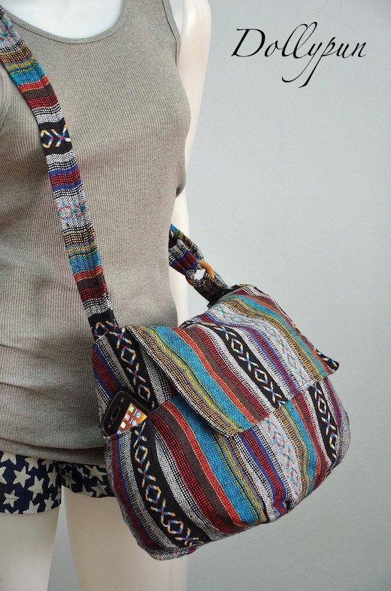 Messaggero hippy borsa nepalese Hmong fotocamera Boho di Dollypun