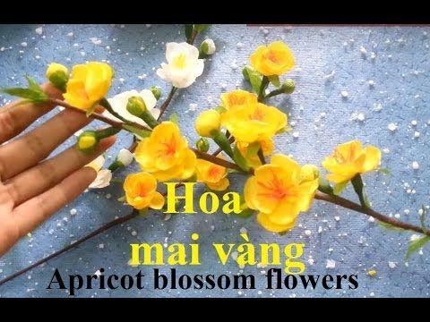 Apricot blossom flowers - Hướng dẫn làm hoa mai từ giấy nhún - YouTube