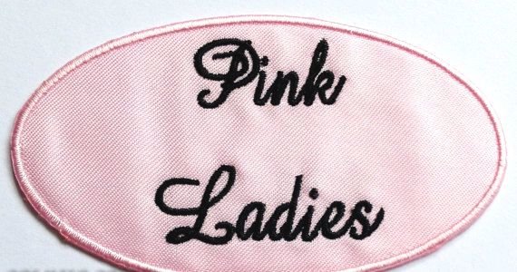 Pink Ladies Patch Grease Movie Embroidered Iron on Badge Costume 1950 Applique Hen Party Fancy Dress Bag T-Shirt Souvenir Collectible Retro