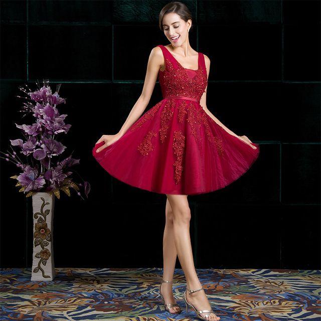 SSYFashion Cocktail Curto Sexy Vestidos de Noiva Banquete Vinho Laço Vermelho Backless Regresso A Casa Vestido de Festa Vestido Formal Robe De Soiree
