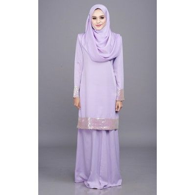 Tiara Kurung with Dwi Tone Sequins in Soft Purple