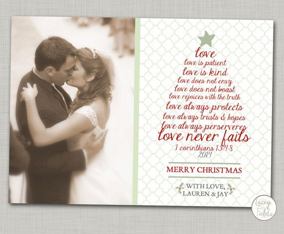 Newlywed christmas card printable- religious Christmas card- corinthians- love is patient love is kind- just married card- Couple christmas on Etsy, $9.00