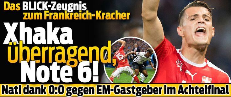 Granit Xhaka überragend - Note 6 !! mit den meisten Pässen..sackstark !! Yann Sommer =5...Fabian Schär =5 Behrami =5...Dzemaili =5 !!