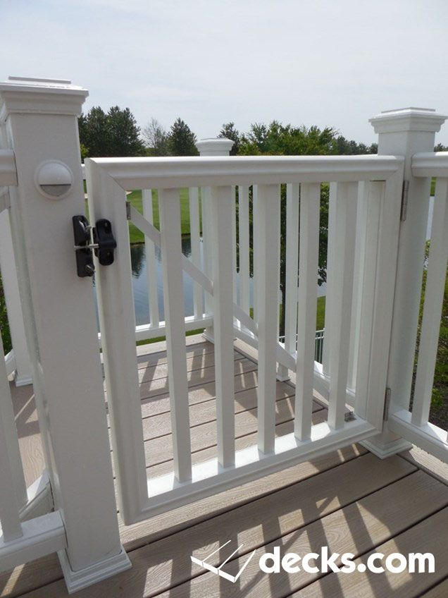 Vinyl Railing With A Self Closing Gate Composite Decking