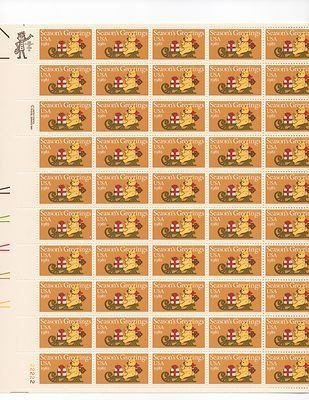 Seasons Greeting Bear on Sleigh Sheet of 50x20 Cent US Postage Stamps ...