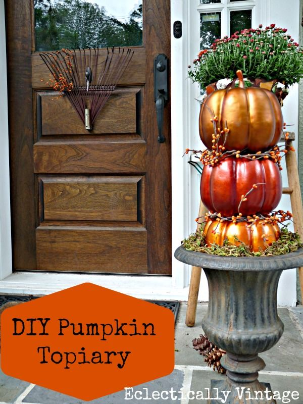 DIY Pumpkin Topiary Fall PorchDiy Ideas, Decor Ideas, Fall Decor, Fall Outdoor Decorating, Pumpkin Topiary, Decorating Ideas, Pumpkin Topiaries, Fall Porches, Diy Pumpkin