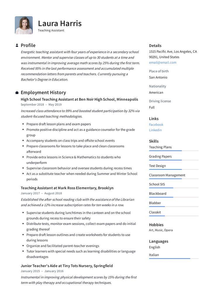 Modern Teaching Assistant Resume, template, design, tips