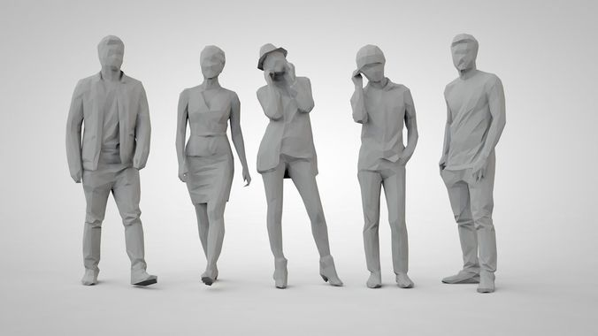 set of low poly people 12 | 3D Model