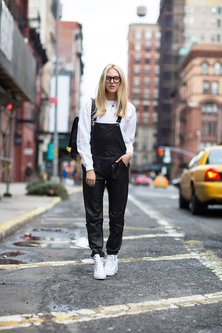 Overalls: Rag & Bone  Sweater: Stella McCartney  Bag: Proenza Schouler (available in store at Intermix)  Glasses: Cynthia Rowley  Sneakers: Converse