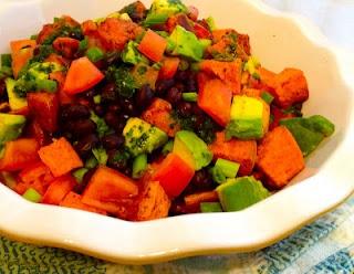 Chili Roasted Sweet Potato Salad with Black Beans, Avocados & Cilantro ...
