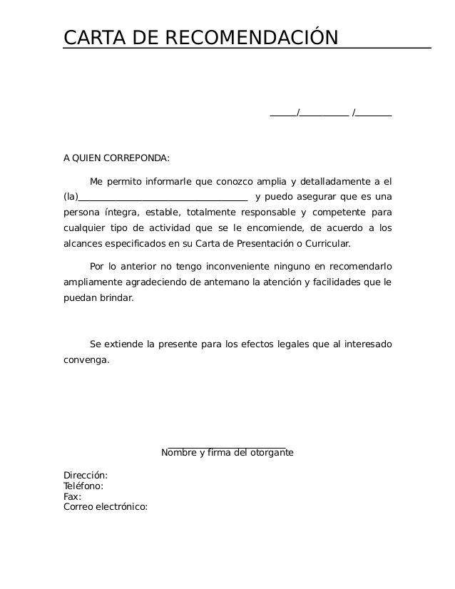 Carta De Recomendacion Para La Cartas De Recomendaci 211 Carta De Referencia Cartas De Recomendacion Formato De Carta