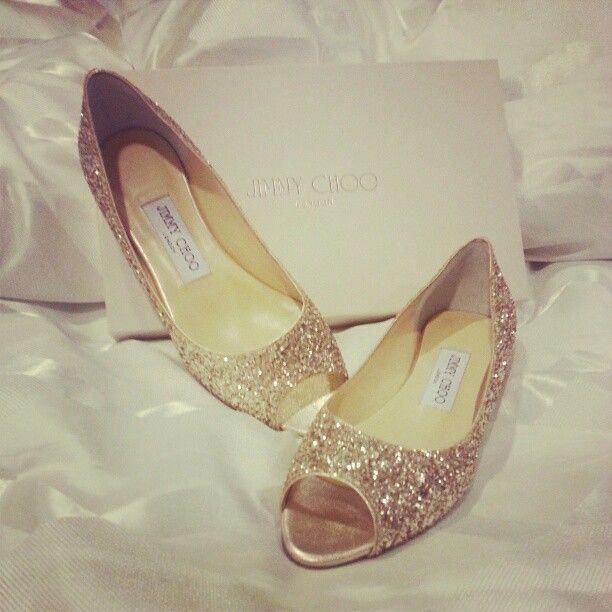 Gold glitter Jimmy Choo peep toe flats #JimmyChoo | Gold