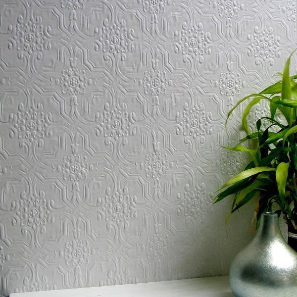White Paintable Buckingham Faux Tin Tile Wallpaper Highly Embossed 10m Roll