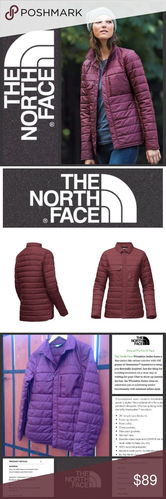 LIKE NEW!  The North Face Whoisthis jacket Perfect condition 'Whoisthis' jacket is beyond functional, featuring a wind proof, water resistant construction in an insulated style to keep you warm & dry without the bulky fit of most winter coats!  Available in a super pretty shade of burgundy, in a size XS which will accommodate a Small as well.  Retail at $150 & worth every penny!  Barely worn, in excellent condition & just in time for the season!  No trades please. The North Face Jackets…