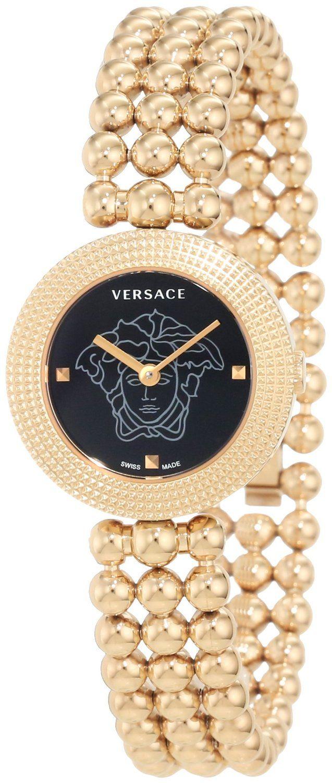 $1,110.00 Versace #Womens Eon Soire Gold IP Black Dial, Sapphire Crystal Sphere, Stainless Steel, #Bracelet #Watch