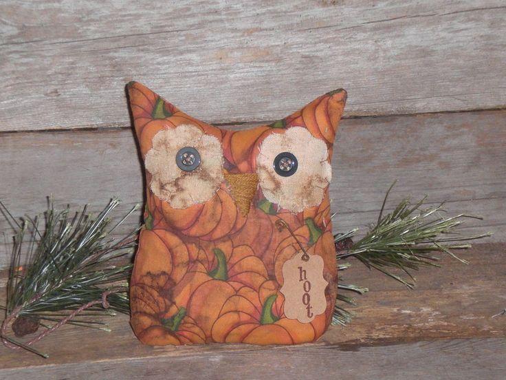 1 Primitive Rustic Halloween Orange Hoot Owl Bowl Filler Ornament Ornie Tuck #Handmade