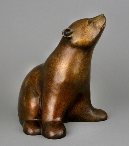 """An excellent sculpture from the talented artist Georgia Gerber - this is called """"Lone Cub."""" Check out Waxlander Gallery and Sculpture Garden in Santa Fe, NM for more details."""