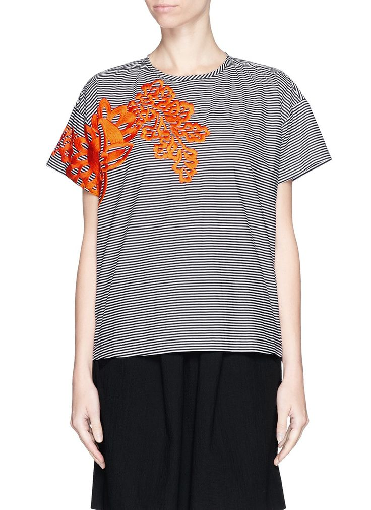 TANYA TAYLOR - 'New Bert' floral embroidery stripe poplin T-shirt | Multi-colour Short Sleeve Tops | Womenswear | Lane Crawford - Shop Designer Brands Online