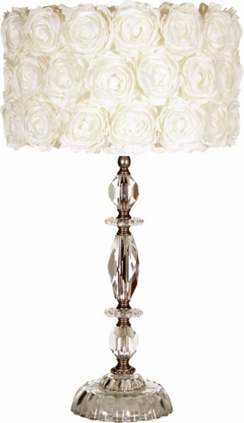 Glue fabric roses onto the lampshade to make it elegant