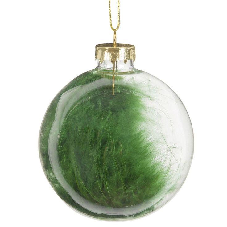 Pallina con piume verdi in vetro trasparente GREEN | Maisons du Monde