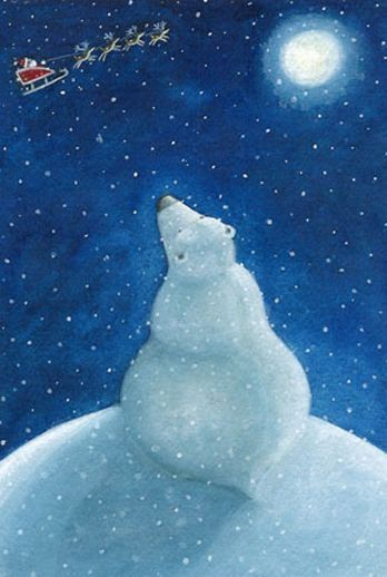Watching Santa leave the North Pole by Susan Mitchell