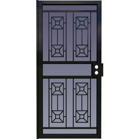 LARSON Matrix Black Steel Security Door (Common: 36 In X 81 In