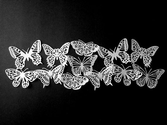 Edible White Lacy Shimmering Wedding  Butterflies/ Cake/Cupcake Topper.Set of 12