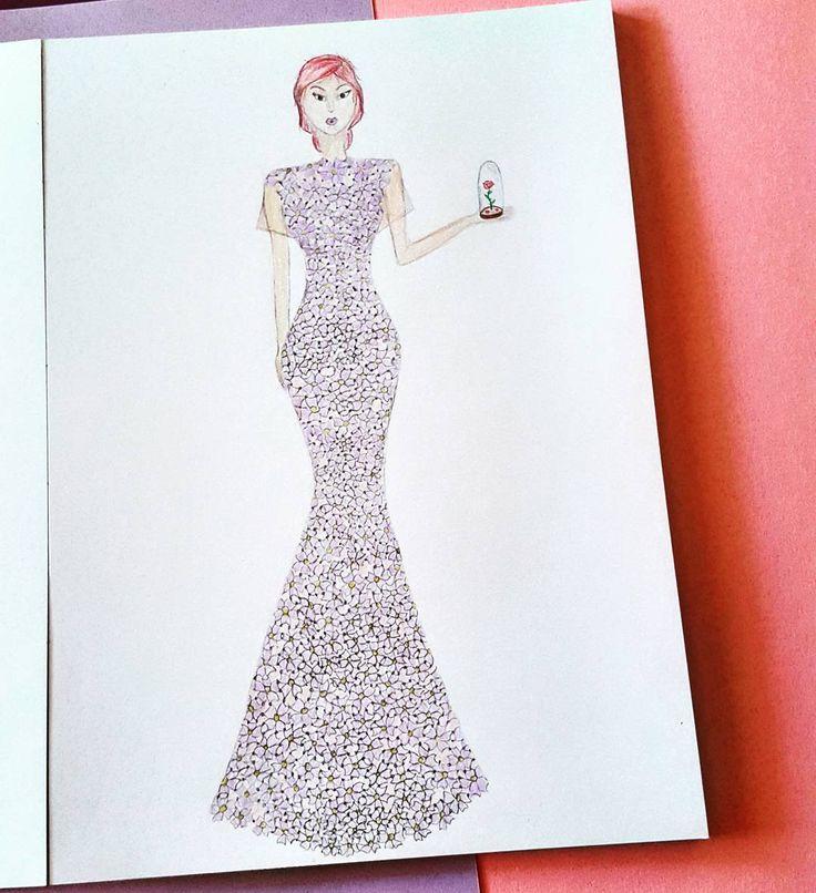 "20 aprecieri, 1 comentarii - C.A. (@c.a.ilustratii) pe Instagram: ""#fashion #fashionista #rose #fashionart #princes #fashionillustration #designer #girl #hair #color…"""