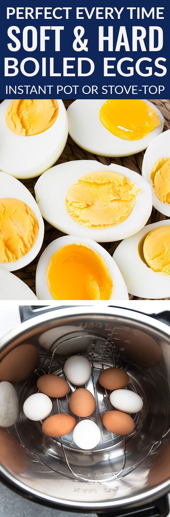 Perfect Hard or Soft Boiled Eggs made in your instant pot pressure cooker or stovetop. Best of all, they are so easy to peel! A healthy paleo, whole 30 and ketogenic option for breakfast, salads, sandwiches, deviled eggs, an after or pre workout snack and Easter eggs. #eggs #instantpot #hardboiled #softboiled #whole30 #paleo #ketogenic
