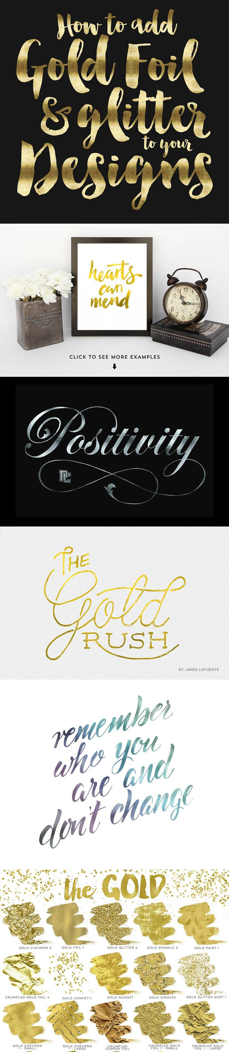 How to add gold foil and glitter to your designs and brush script fonts.
