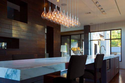 Modern Kitchen Island Light - Clear Teardrop Glass Linear Pendant contemporary kitchens