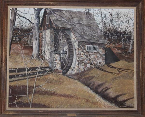 Old mill, on DuPont property, in PA. One of mom's earlier paintings. Oil on stretch canvas.