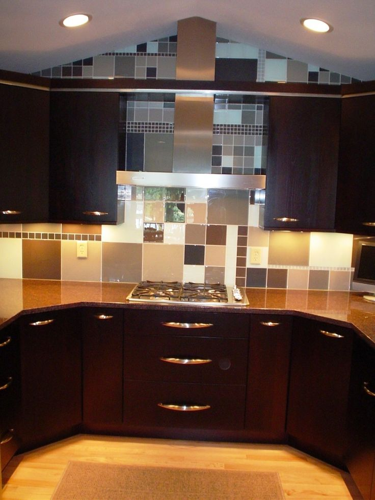 Dark Stained Cabinets With Stainless Accents Glass Mosaic Interiors Inside Ideas Interiors design about Everything [magnanprojects.com]
