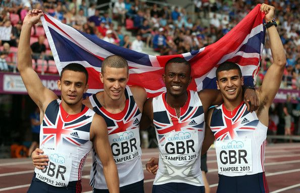 (L-R) Dannish Walker-Kahn, Daniel Talbot, Deji Tobais and Adam Gemili of Great Britain pose for photographers after winning the Men's 4x100m Relay during day four of The European Athletics U23 Championships 2013 on July 14, 2013 in Tampere, Finland.