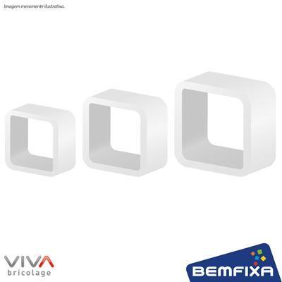 Kit com 3 Cubos Brancos em MDF de tamanhos diferentes e bordas arredondadas, para você deixar o ambiente com seu estilo.
