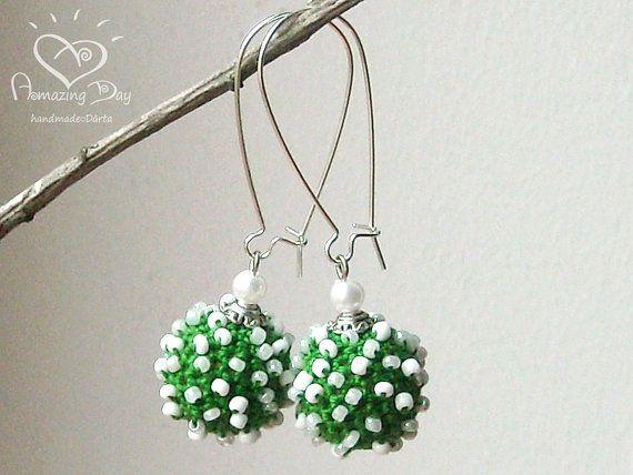 Green White EARRINGS. Crocheted Christmas gift. by AmazingDay, $17.00