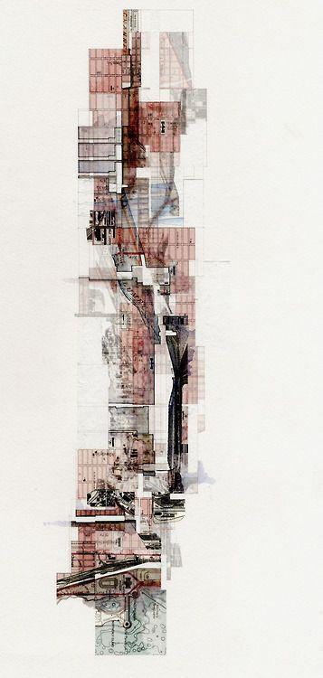 johnfechtel:    UF D4 Tower Intervention Diagram, Graphite/Ink/Watercolor on Digital Print on Watercolor paper, 12x24.