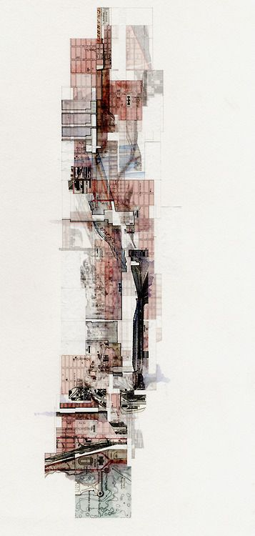 johnfechtel:    UF D4 Tower Intervention Diagram, Graphite/Ink/Watercolor on Digital Print on Watercolor paper, 12x24.