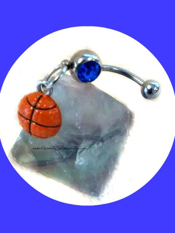 Blue Basketball Belly Ring Sports Marchmadness Navel Basketball