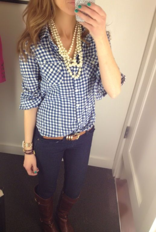 Gingham and Pearls! Shirt: Old Navy (old), Boots: Tory Burch, Necklace: eBay, Wa
