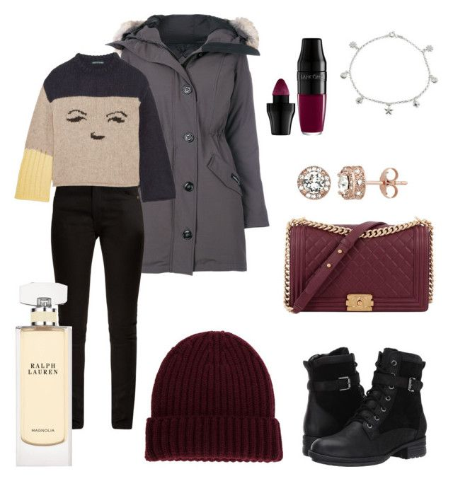 """Cold weather ❄️❄️❄️"" by sleepintheclouds ❤ liked on Polyvore featuring Canada Goose, Yves Saint Laurent, AlexaChung, Blondo, DANIELAPI, Chanel, Diamond Splendor, Giani Bernini, Ralph Lauren and Lancôme"