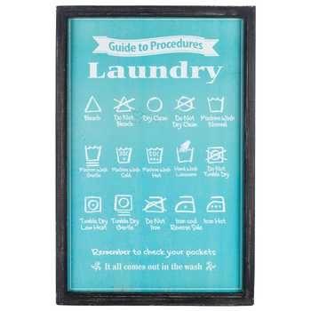 Black, Blue & White Laundry Procedures Framed Sign
