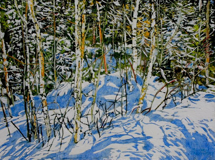 """clear winters day full of shifting impressions & quietly random strips of sunlight 18"""" x 24"""" micheal zarowsky / Mixed media (watercolour / acrylic painted directly on gessoed birch panel)  Available $950.00"""